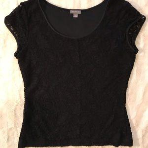 EUC {Ann Taylor} basic short sleeve blouse black
